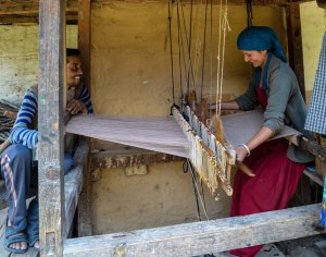 Lata didi weaving with her husband